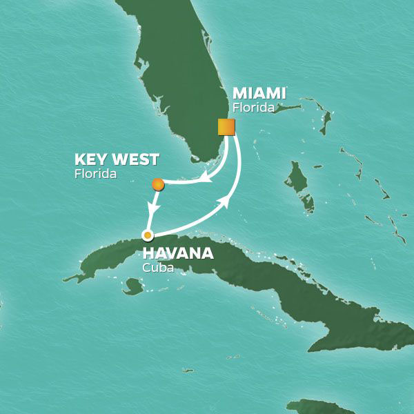 Key West and Havana cruise itinerary map, from Miami to Havana