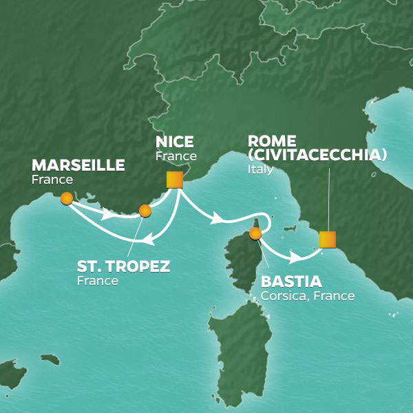 Riviera Weekend cruise itinerary map, Nice to Rome with stops in France and Corsica
