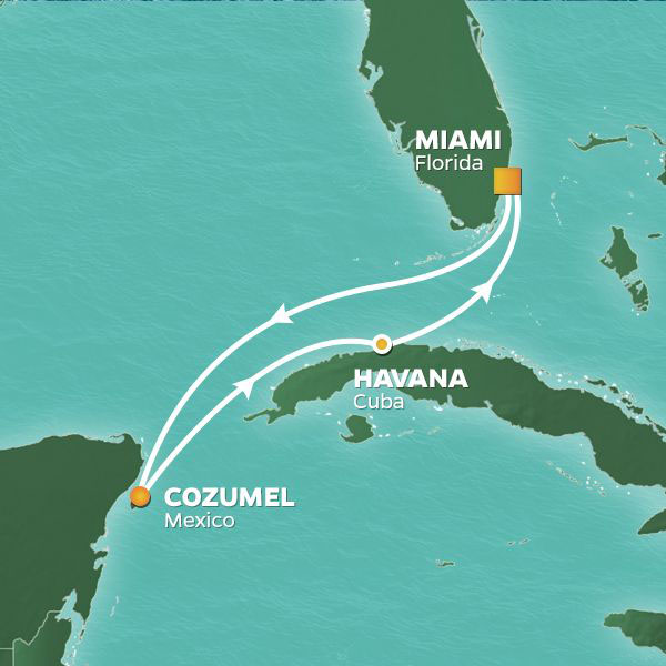 Havana and Cozumel cruise itinerary map, Miami to Cuba with a stop in Mexico
