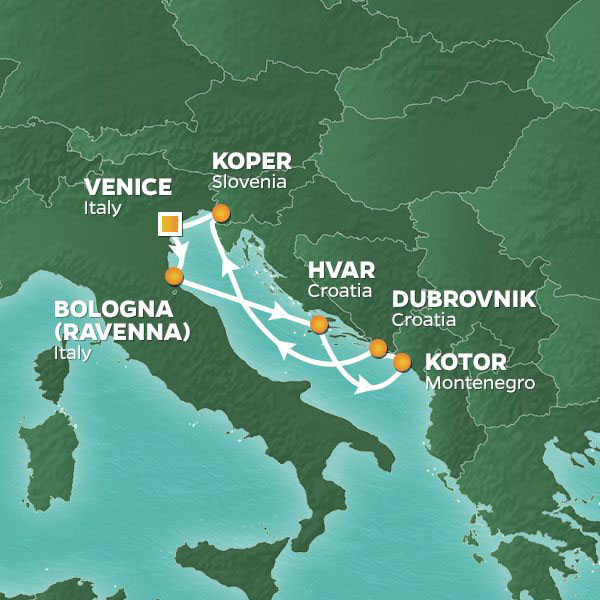 Adriatic Wonders cruise itinerary map, with stops in Italy, Croatia, Montenegro and Slovenia