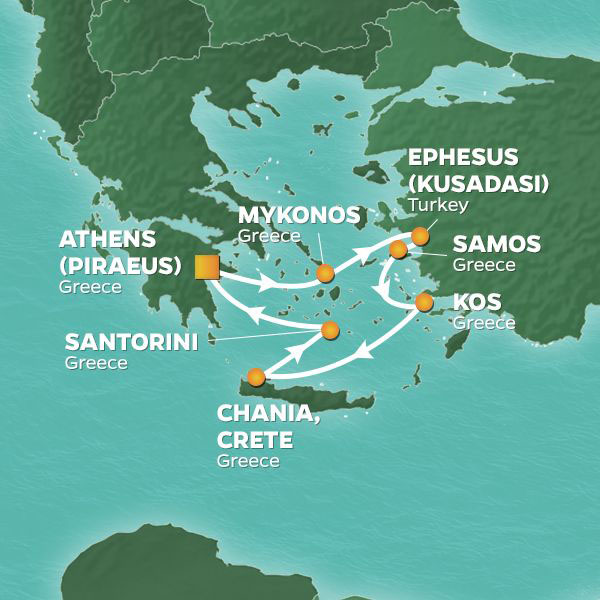 Aegean Wonders cruise itinerary map, with stops throughout Greece and Turkey