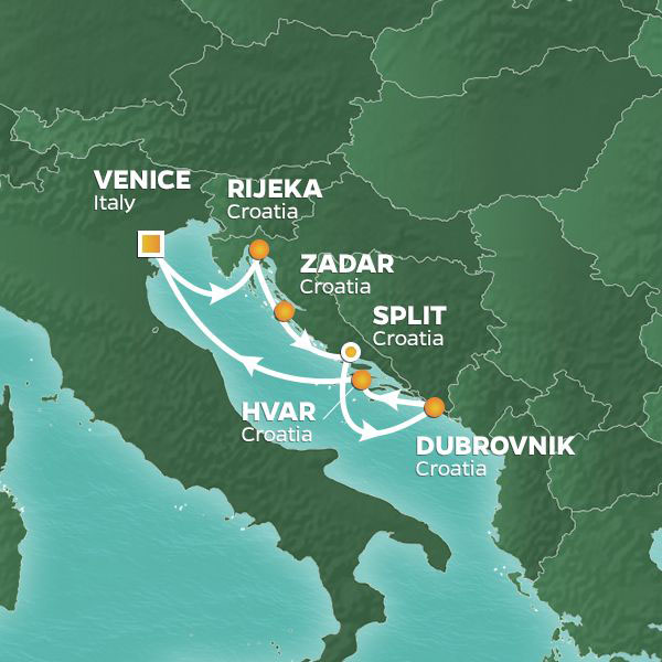 Croatia Intensive cruise itinerary map, from Venice to Hvar with stops throughout Croatia