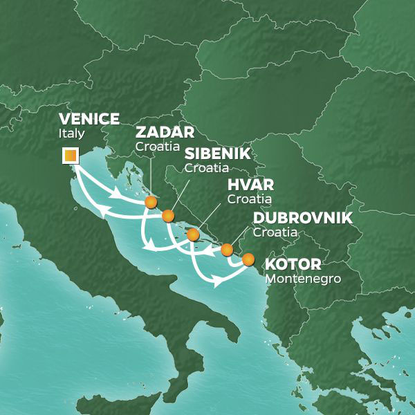 Dalmatian Discovery cruise itinerary map, from Italy to Montenegro