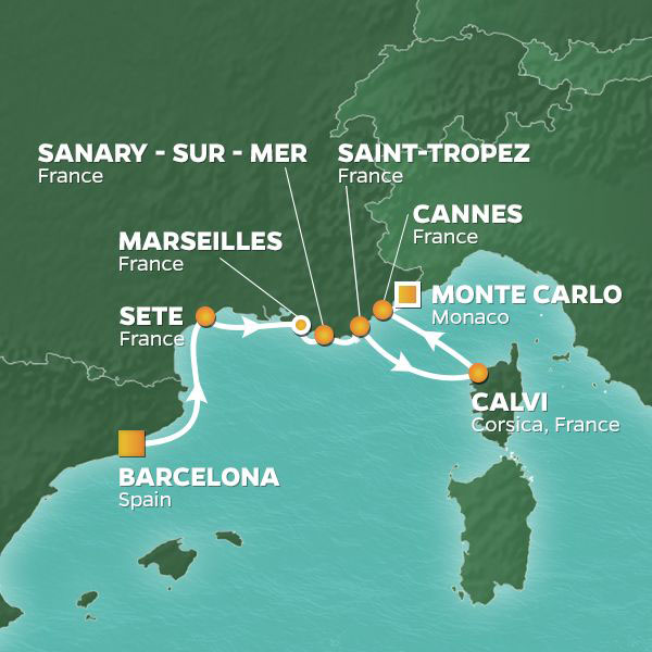 France Intensive cruise itinerary map, from Barcelona to Monte-Carlo