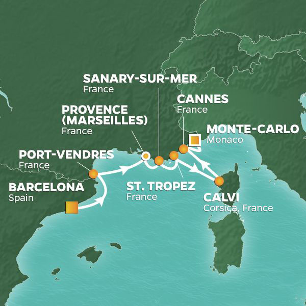 France intensive voyage map
