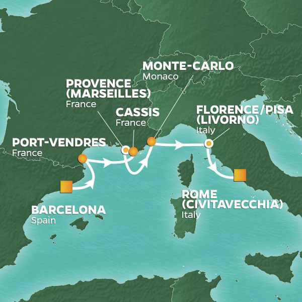 Gems of the Western Mediterranean cruise itinerary map, from Barcelona to Rome