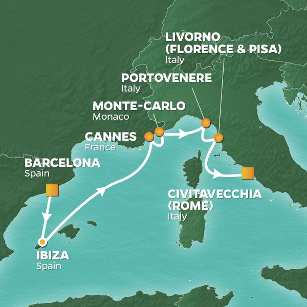 Ibiza, Rivieras, and Tuscany cruise itinerary map, from Barcelona to Rome