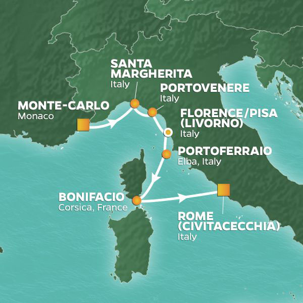 Italy Intensive cruise itinerary map, from Monte-Carlo to Rome with stops throughout Italy and France