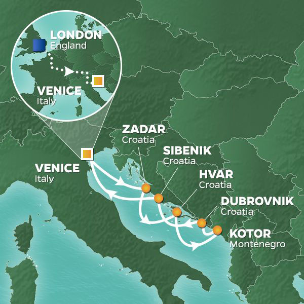 Mediterranean Land and Train Voyage itinerary map
