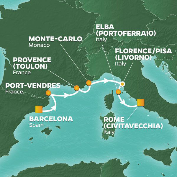 Mediterranean Mosaic cruise itinerary map, from Barcelona to Rome
