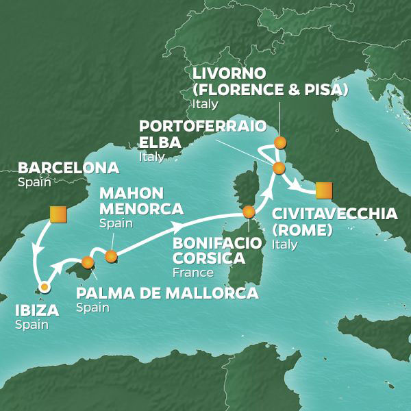 Mediterranean Wonders cruise itinerary map, Barcelona to Rome