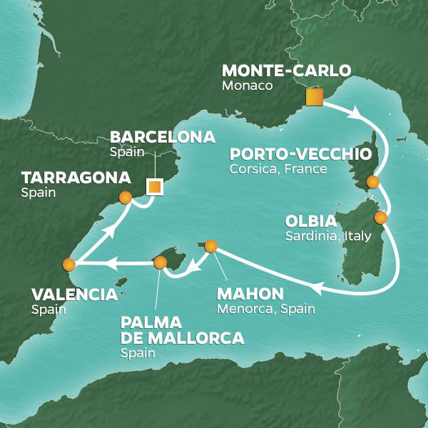 Monte-Carlo to Barcelona cruise itinerary map, with stops in France, Italy and Spain
