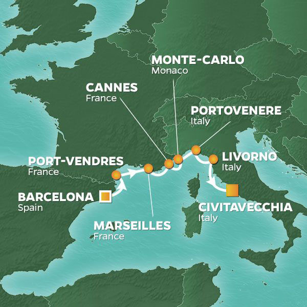 Rivieras Sunsets cruise itinerary map, Spain to Italy with stops in France and Monaco