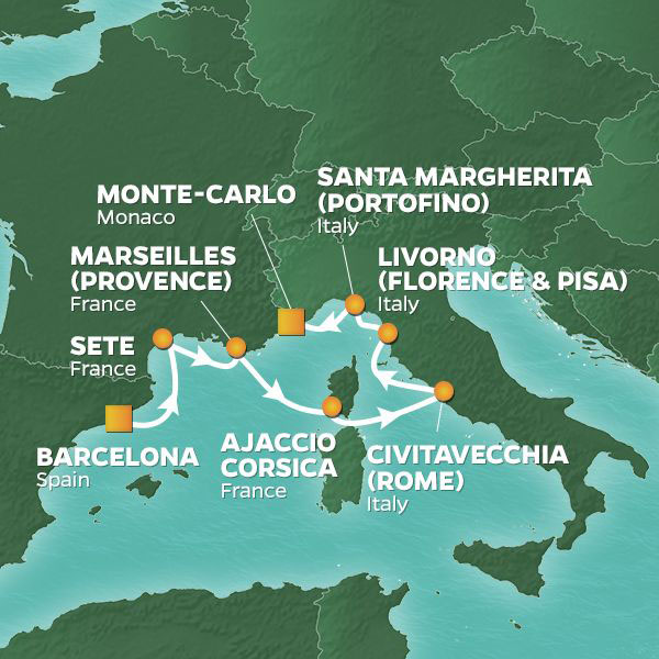 Spain, France and Tuscany Voyage cruise itinerary map