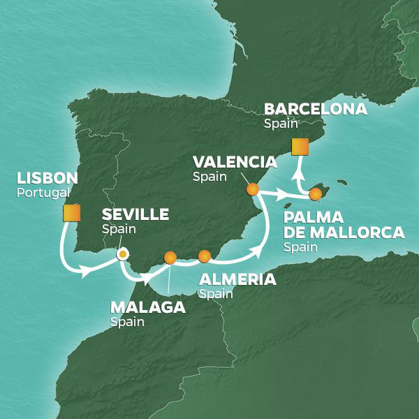 Spain Intensive cruise itinerary map, from Lisbon to Barcelona