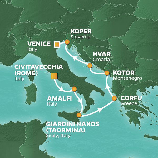 Amalfi and Dalmatian Coasts cruise itinerary map, Rome to Venice with stops in Greece, Montenegro and Croatia