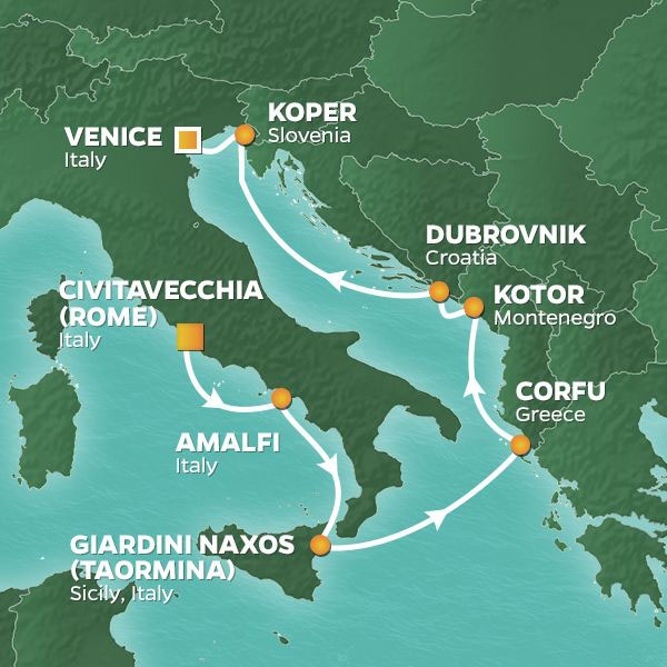 Amalfi and Dalmatian Coasts cruise itinerary map, with stops in Italy, Greece, Montenegro, and Croatia