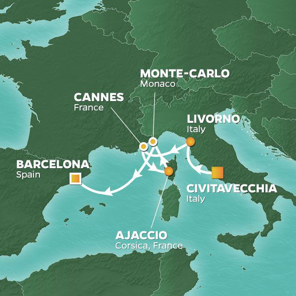 Grand-Prix and Cannes Voyage cruise itinerary map, Rome to Barcelona