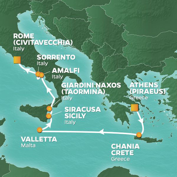 Greece, Malta and Italy cruise itinerary map, from Athens to Rome