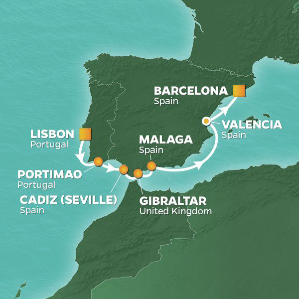 Iberian Adventure Voyage cruise itinerary map from Lisbon to Barcelona