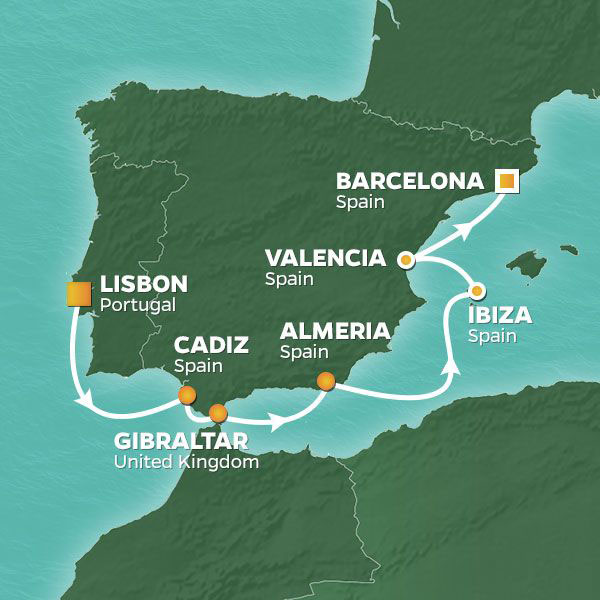 Iberian Passage cruise itinerary map, from Lisbon to Barcelona