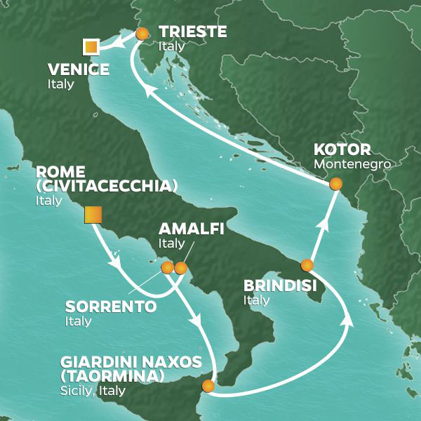 Italy Intensive cruise itinerary map, from Rome to Venice with stops throughout Italy and Montenegro