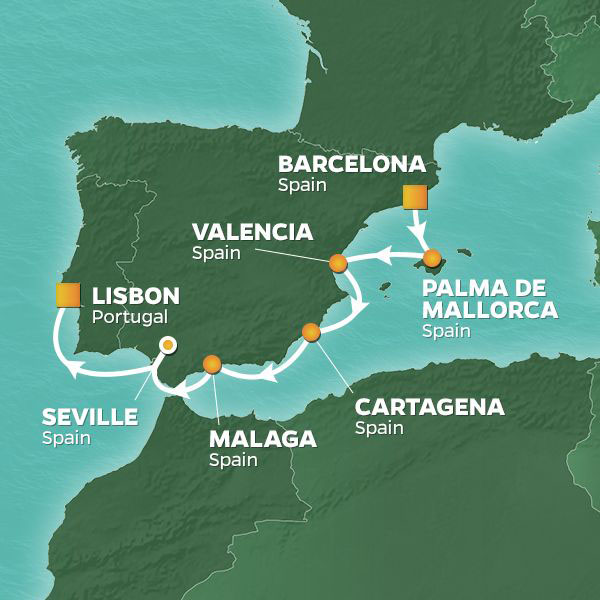 Spain Intensive cruise itinerary map, from Barcelona to Lisbon