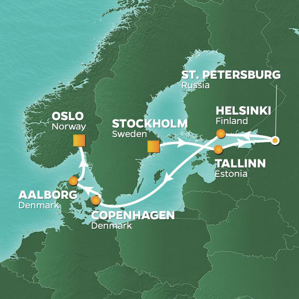 Baltic Capitals and Russia cruise itinerary map, from Stockholm to Oslo