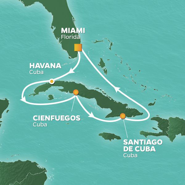 Cuba Intensive cruise itinerary map, with various stops throughout Cuba
