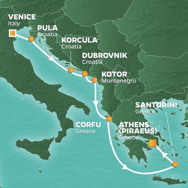 Dalmatian Coast to Athens cruise itinerary map, from Italy to Greece
