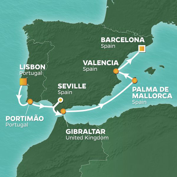 Iberia Intensive cruise itinerary map, from Lisbon to Barcelona