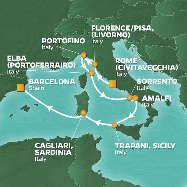 Italy Intensive cruise itinerary map, from Rome to Barcelona