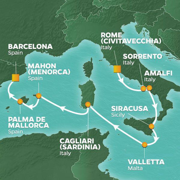 Italy, Malta and Spain cruise itinerary map, from Rome to Barcelona
