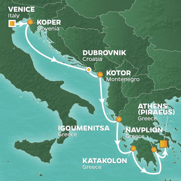 Italy to Greece Mediterranean cruise itinerary, from Venice to Athens