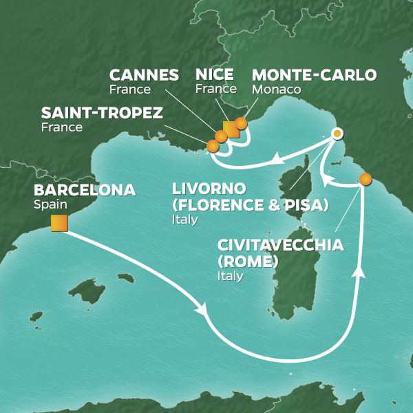 Mediterranean Classics Voyage cruise itinerary map, Barcelona to Monte-Carlo