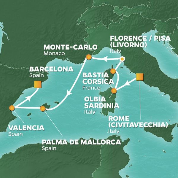 Mediterranean Mosaic cruise itinerary map, from Rome to Barcelona