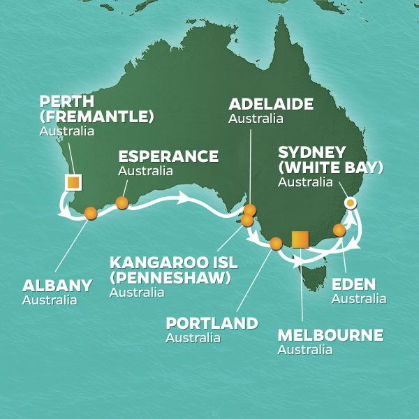 Azamara Cruises | 16-Nights from Perth to Melbourne Cruise Iinerary Map