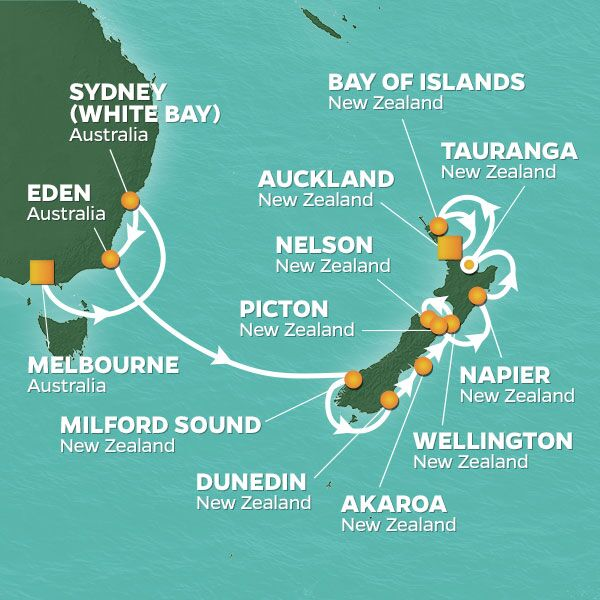 Azamara Cruises | 16-Nights from Melbourne to Auckland Cruise Iinerary Map