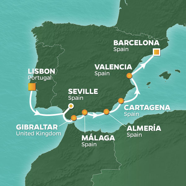 Map of Azamara cruise including Almeria, Spain