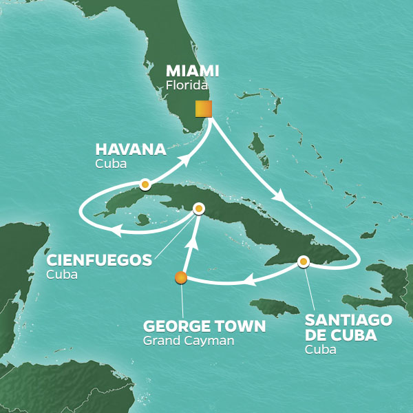 Circle Cuba cruise itinerary map with visits to the Cayman Islands and ports of Cuba