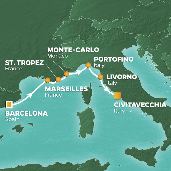 Barcelona to rome map