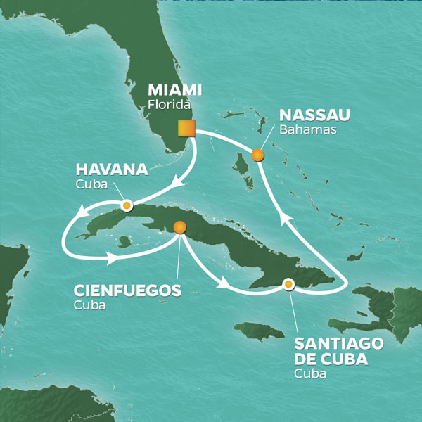 Cuba Intensive cruise itinerary map, with various stops throughout Cuba and the Bahamas