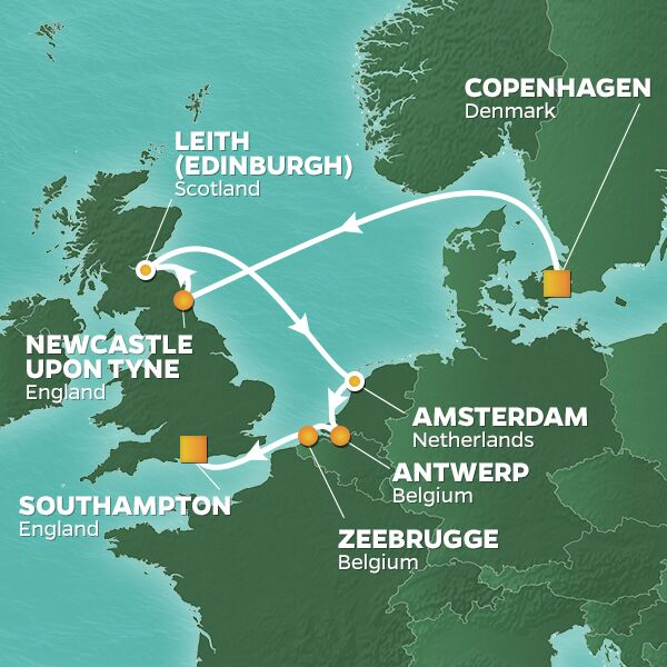 Northern Capitals cruise itinerary map, from Copenhagen to Southampton