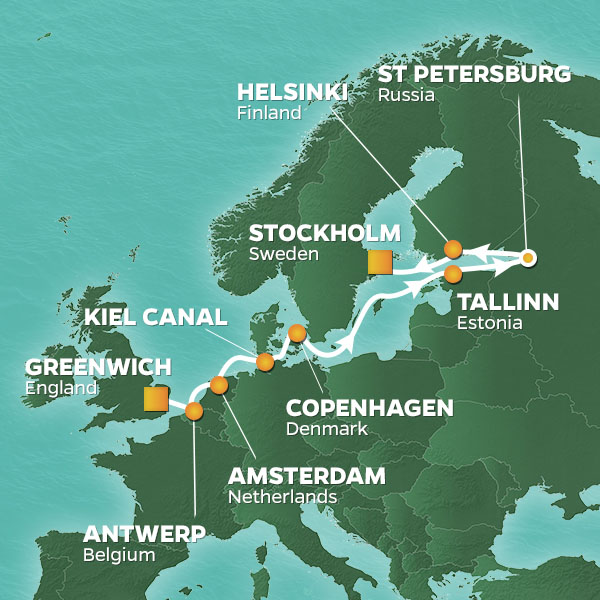 Baltic and World Cup Voyage cruise itinerary map, England to Sweden with stops in Denmark, Finland, and Estonia