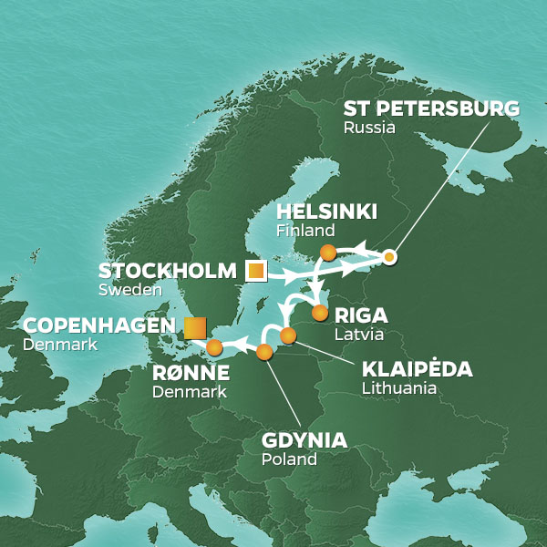 Baltic Rendezvous cruise itinerary map
