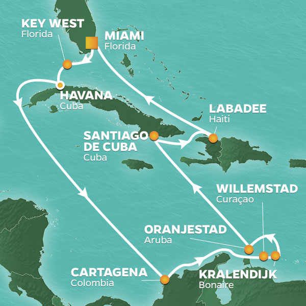 Caribbean Holiday cruise itinerary map, Miami to Haiti with stops in Cuba, Curacao, and Aruba