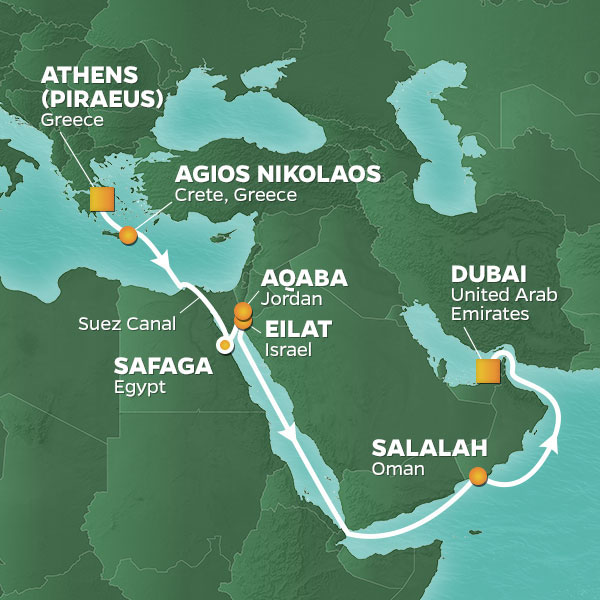 Azamara Cruises | 16-Nights from Athens to Dubai Cruise Iinerary Map