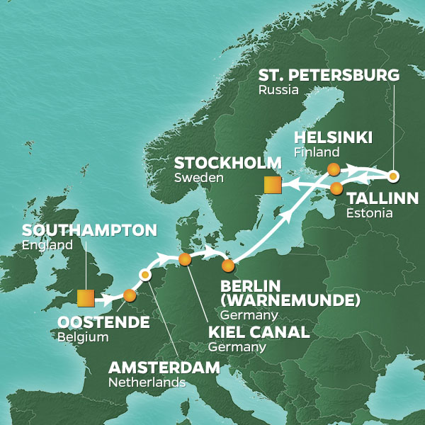Baltic Capitals cruise itinerary map, from Greenwich to Stockholm