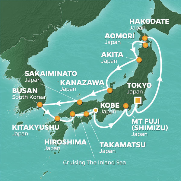 Azamara Cruises | 15-Nights Roundtrip from Tokyo Cruise Iinerary Map