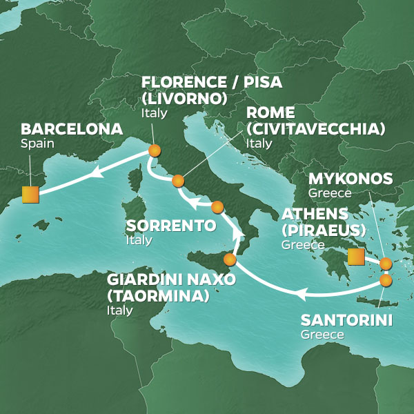 Athens Barcelona voyage map